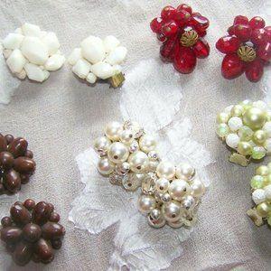 Vintage Clip Earrings-5 Cluster W. Germany
